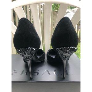 Versace suede Medusa head heels